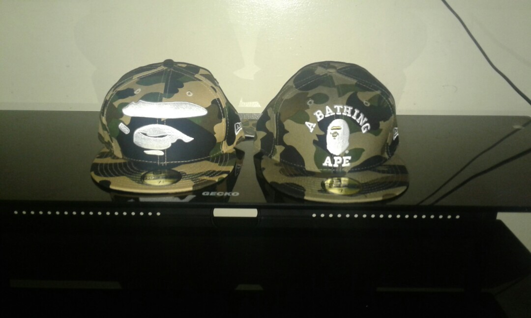 17d85b3a2be Bape first green and yellow camo abc big ape new era hat