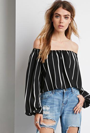 510e6d710c151 black   white striped off shoulder crop top