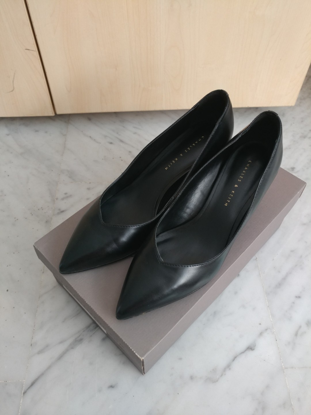 17ea48ba18a Charles   Keith Black Pumps Kitten Heels