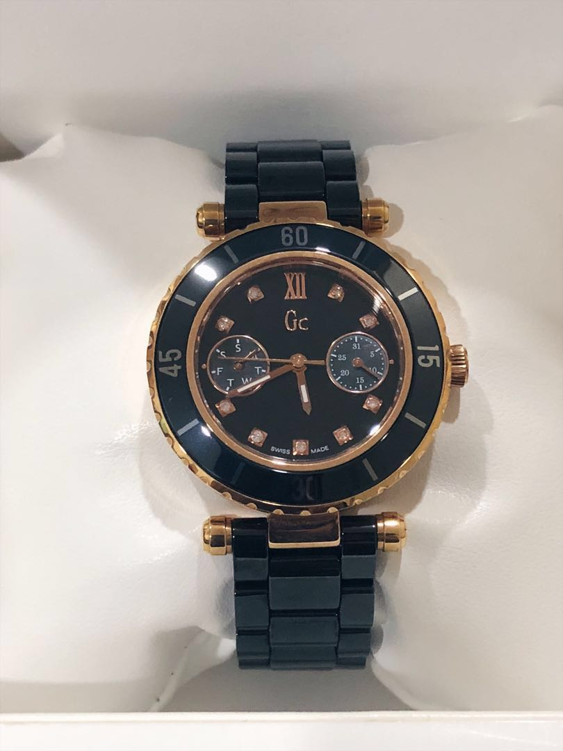 08b106810 Guess GC Swiss Made Diver Chic Diamond Rose Gold Ceramic Watch, Women's  Fashion, Watches on Carousell