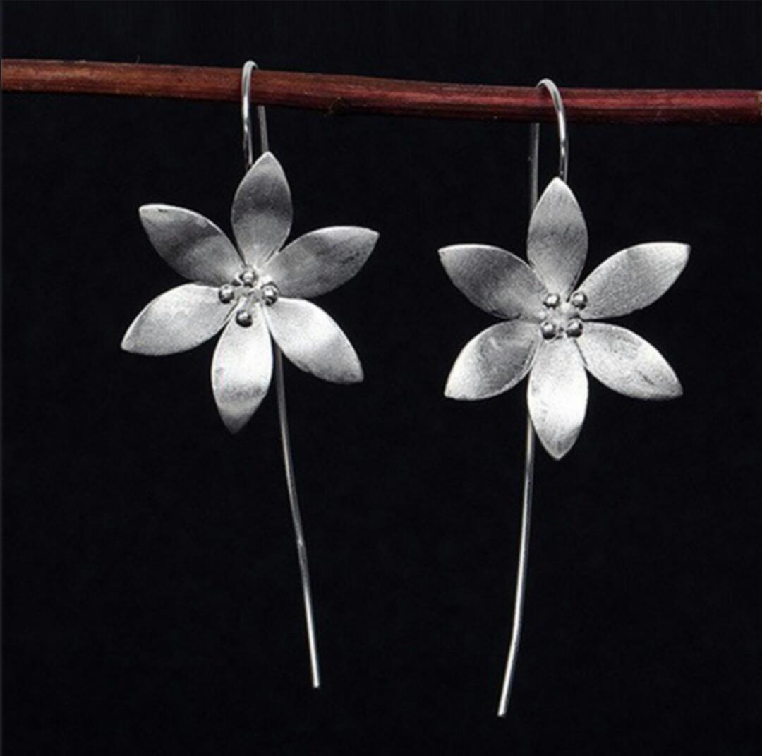 Hand Made Sterling Silver Lotus Flower Long Earrings Womens