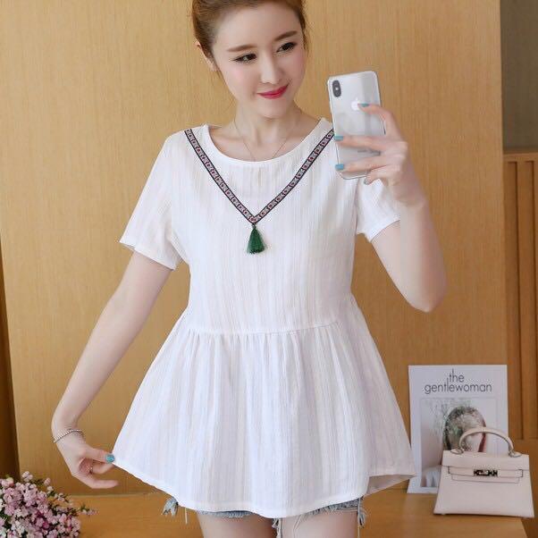 3922faccb Korean round Neck loose cotton and linen shirt sleeve a word shirt ...