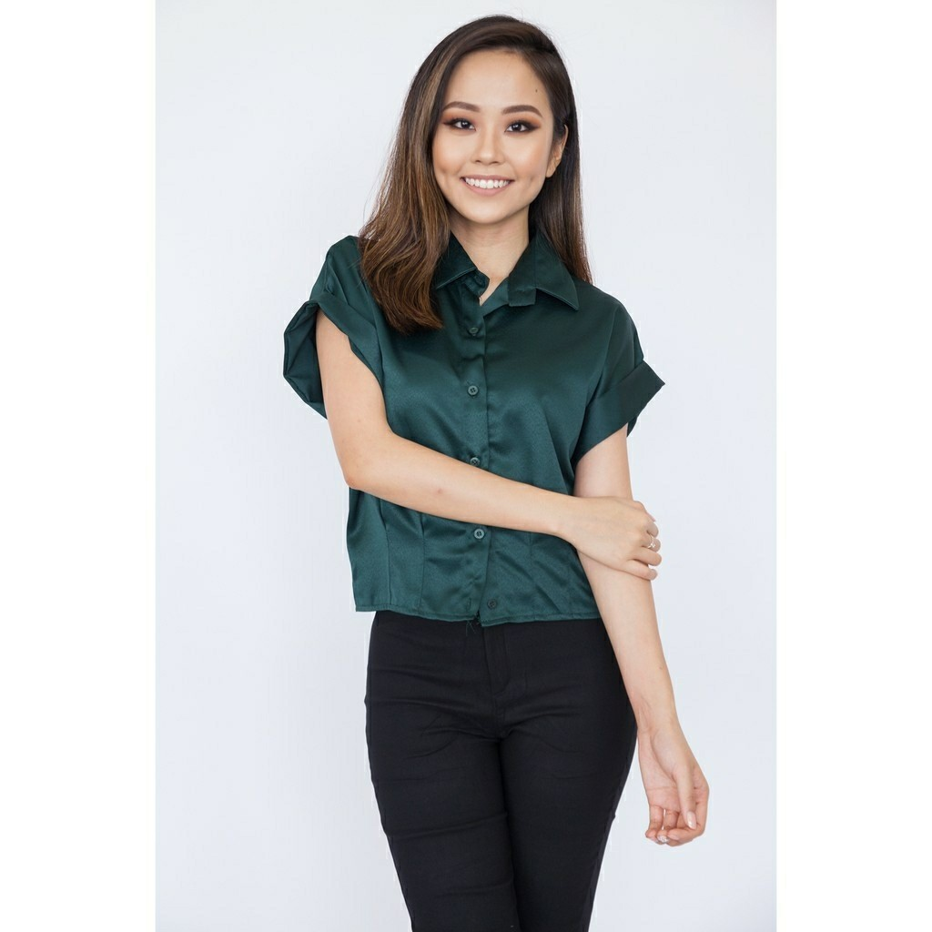 7312026509fca5 PL💝[Hook Clothing] Mini Blouse in Forest Green, Women's Fashion ...