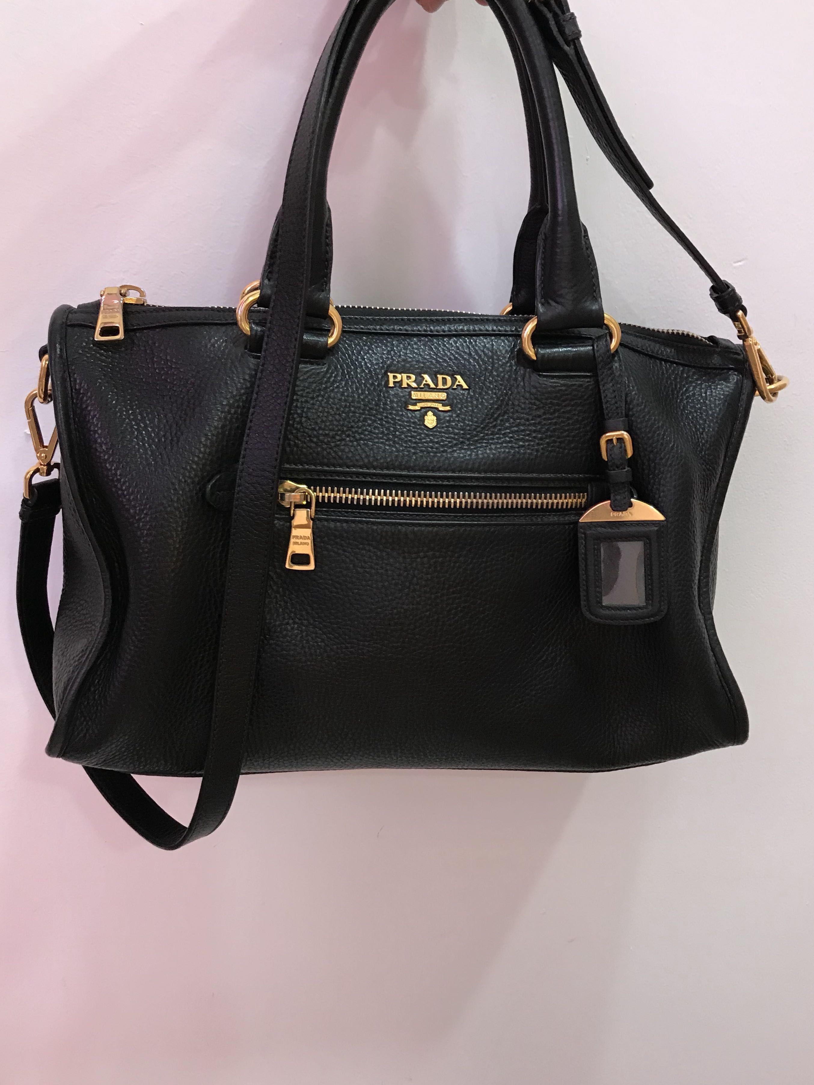 e7cd33f546e0bb Prada Bauletto BL0805 Vit .Daino Black calf, Luxury, Bags & Wallets,  Handbags on Carousell