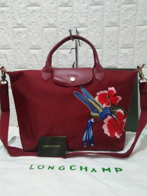 7e0755a5335 Sale!! Longchamp neo embroidered medium maroon, Luxury, Bags ...