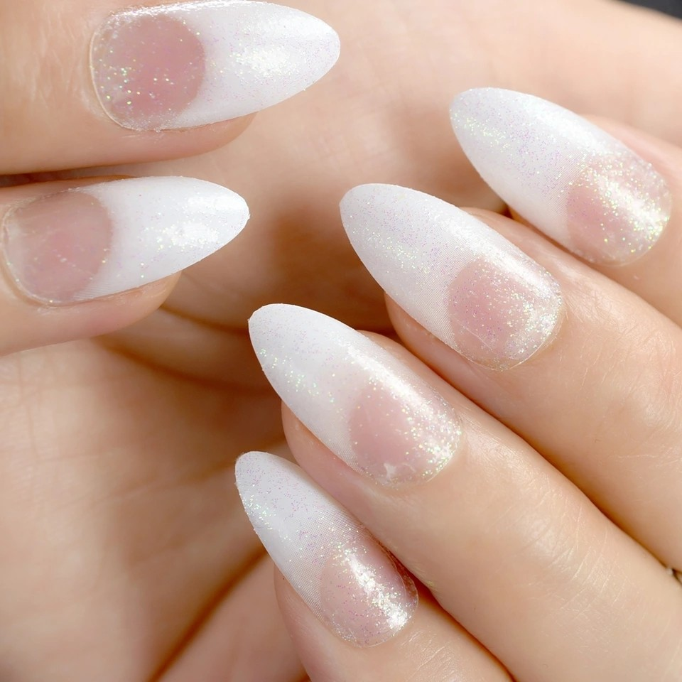 White Clear French Nail Glitter Nails STILETTO Medium Ladies ...