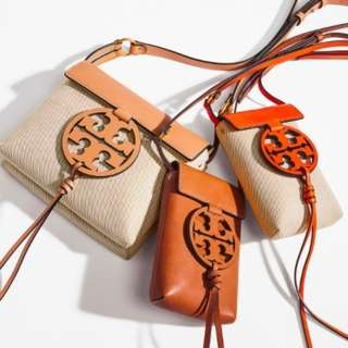 美國 Tory Burch Miller Canvas 麻布配皮革隨身百搭肩背包斜背包 21*17*7
