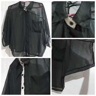 Black See-Through Polo Blouse Top