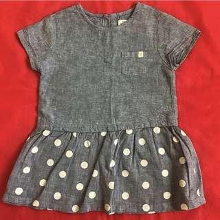 Zara Denim Polka Dress