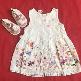 PL White Butterfly Dress with Mothercare sandals