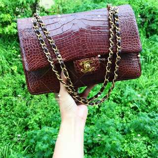 (SOLD)Chanel Vintage 深啡色鱷魚皮 Classic Flap 25cm