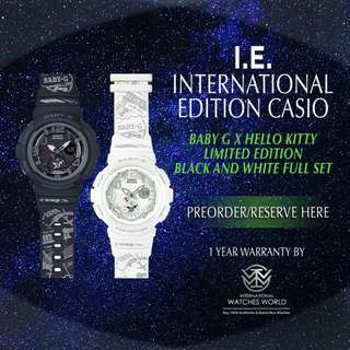 CASIO INTERNATIONAL EDITION BABY G X HELLO KITTY BLACK AND WHITE SERIES FULL SET LIMITED EDITION