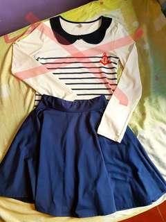 Navy Blue Skater Skirt