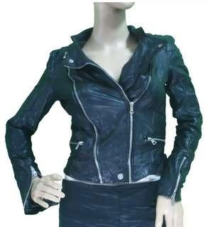 zara motorcycle genuine leather jacket