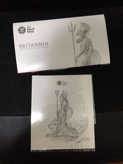 英國大不列顛女神精裝銀幣套裝連設計手稿