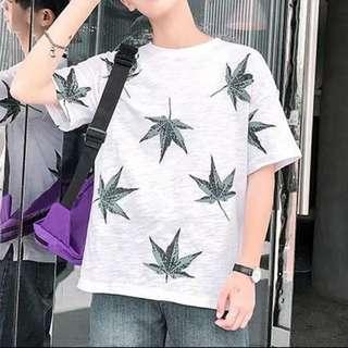 Oversized Weed Tee Oversize Crease design T-shirt Fashion