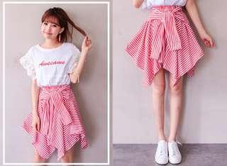 🚚 兩穿一字領條紋襯衫綁帶不規則上衣裙 短裙 半身裙