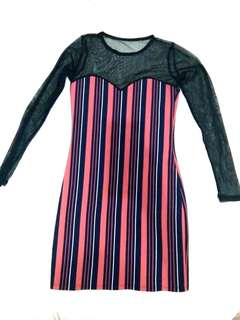 Pink Stripes See Through Dress
