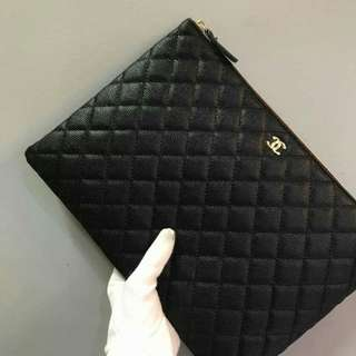 Chanel O Case Large Caviar Black
