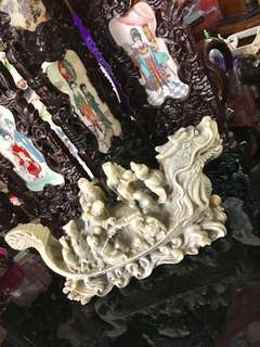 Great antique ornament dragon ship fook look sau fengshui