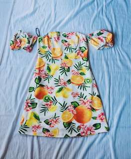 FOREVER 21 Tropical Fruit Off Shoulder Bodycon Dress