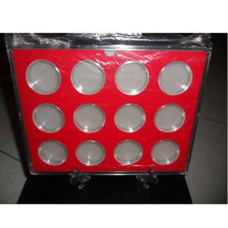 12 Coins Acrylic Display Case with Stand & 12 Pcs 40.8mm Capsules.
