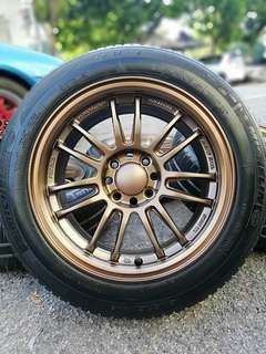 Re30 thailand 15 inch sports rim jazz city tyre 80%. * kuat kuat offer *