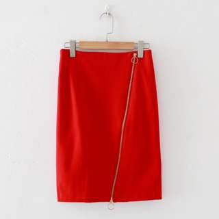 🚚 Red bodycon bandage skirt highwaisted asymmetrical zipping