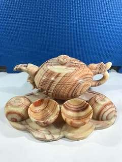 原石雕刻藝術茶具一套