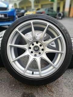 Xxr527 17 inch sport rim perdana tyre 70% * mora mora jual *