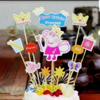 Peppa pig Family and Friends Cake decoration DIY picks