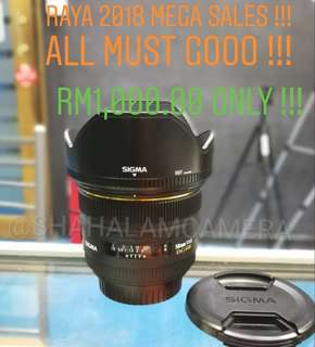(USED) SIGMA 50MM F/1.4 EX DG HSM LENS FOR CANON DSLR.