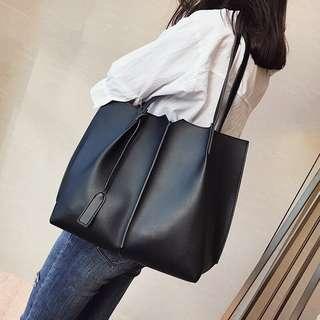 🚚 大包包女2018新款單肩包中包歐美時尚子母包簡約百搭大容量手提包 預購