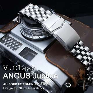 20mm ANGUS Jubilee 316L Stainless Steel Watch Bracelet 20mm Straight End, Brushed/Polished, V-Clasp