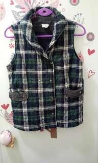 🚚 🍄出清二手 格紋鋪棉雙排釦背心外套