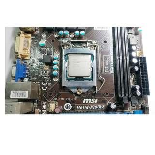 Intel G2020 2.9GHz + MSI H61M P20 LGA 1155 最新BIOS 非常穩定 全固態電容