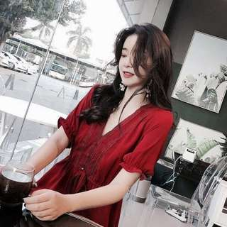 INSTOCKS v neck lace front dress - maroon red