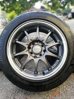 Ce28 thailand club pro racer 15 inch sports rim iriz tyre 70%. * big big offer*