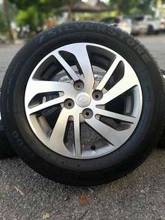Original sports rim myvi ikon 14 inch tyre 98%. * kuat kuat offer *