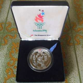 1981-1996 Singapore 100th Anniversary of the Olympics 41g Silver Proof Medallion.
