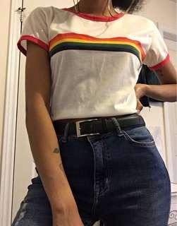 White T-Shirt w/ Rainbow Stripe