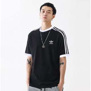 🚚 【吉米.tw】adidas Originals 三線 logo 短袖上衣 三葉草 T-Shirt 黑色短袖cw1202