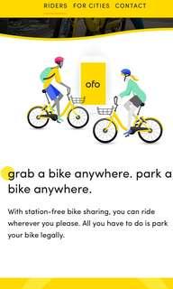 OFO Bike Sharing Coupon Voucher