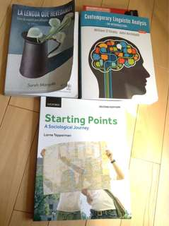 Textbooks= A Good Book, In Theory; Starting Points: A Sociological Journey, Contemporary Linguistic Analysis: An Intro, La Lengua que Heredamos