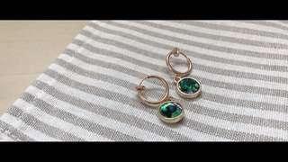 🚚 Greeny's Shop-孔雀綠彩色貝殼夾式耳環