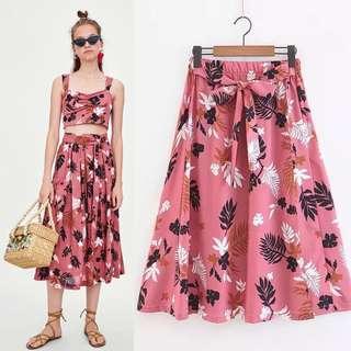 European belt printed skirt