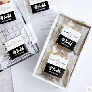 ▪5張/共75枚入▪黑白雪花酥貼紙/方形餅乾袋裝飾貼/烘焙包裝盒封口貼/禮物貼紙/裝飾貼紙