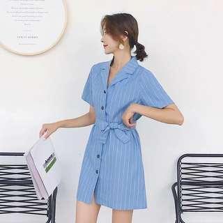 2018 Summer Stripe Single Breasted Lapel Tie Dress