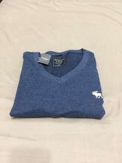 🚚 A&F 大麋鹿logo藍色 素T