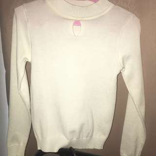 [Sale] White Long Sleeve Fitted Top
